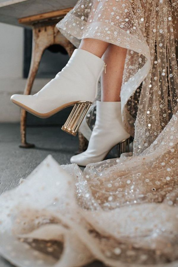 trending white boots with sequins wedding dress