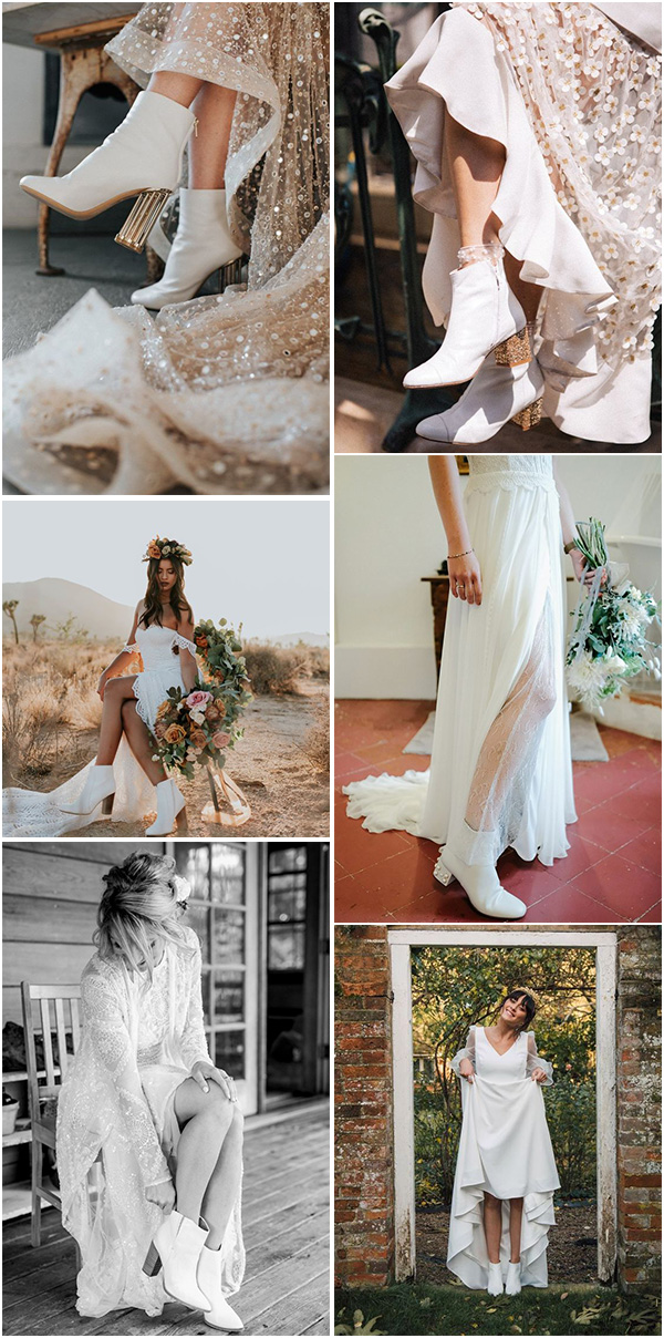 trending white wedding boots to match with your wedding dreses