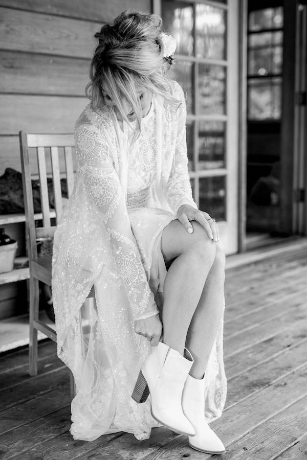 white wedding boots for farm wedding