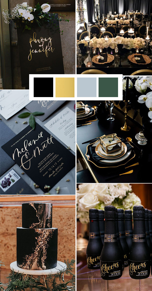 black and gold wedding color ideas