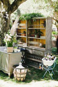 boho chic outdoor wedding bar ideas