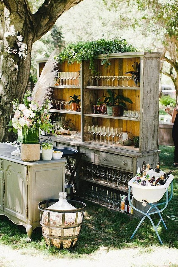 boho chic outdoor wedding bar ideas