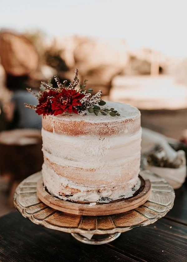 boho semi naked small wedding cake