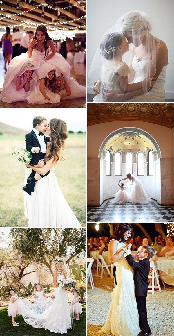 bride and kids wedding photo ideas