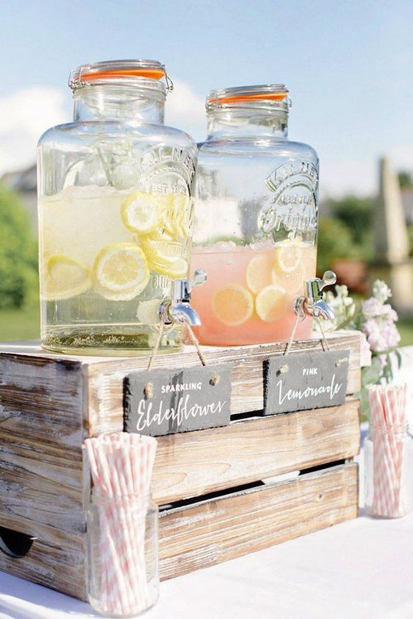budget friendly outdoor rustic drink station ideas