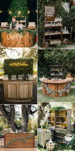chic rustic wooden wedding drink bar ideas
