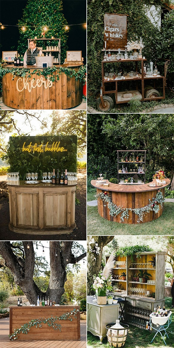 chic rustic wooden wedding drink bar ideas