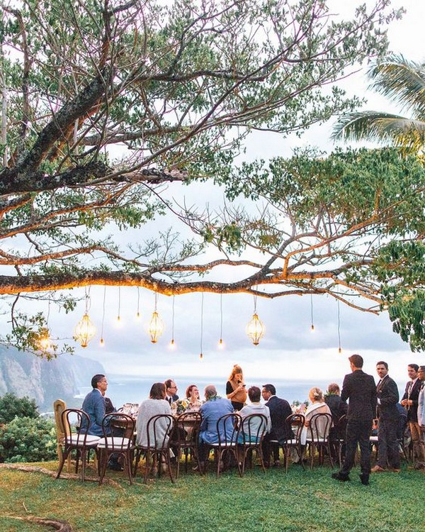 cliffside small wedding reception ideas with lanterns