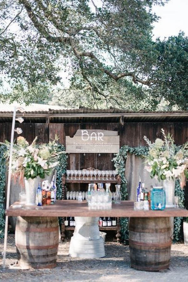 country rustic wedding bar setting ideas