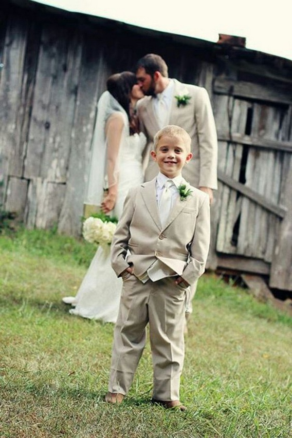 couple and ring bearer wedding photo ideas