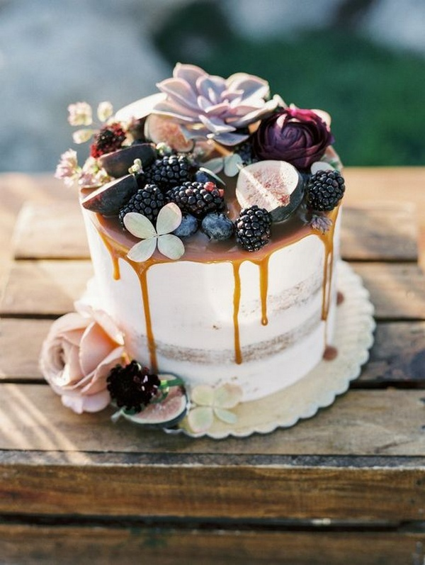 dripped fall wedding cake ideas for intimate weddings