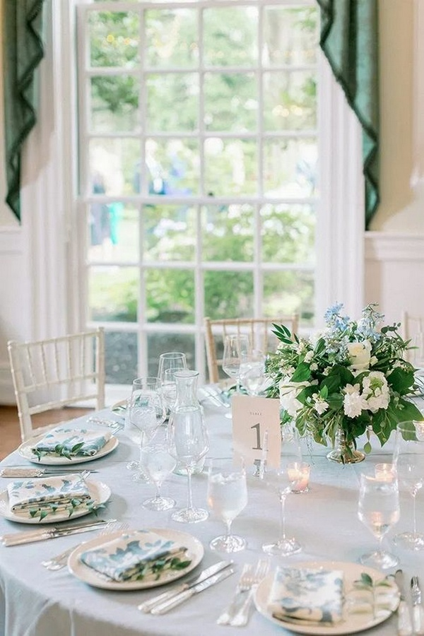 elegant sky blue intimate wedding reception ideas