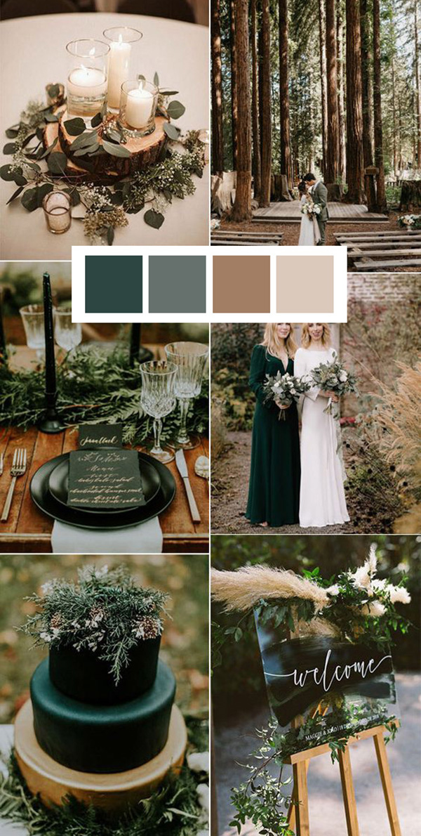 emerald green and neutrals winter wedding color ideas
