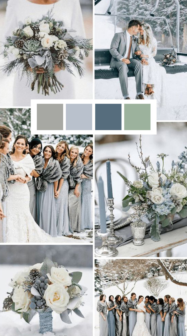 gray and pale blue winter wedding color ideas