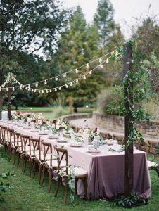 long table backyard wedding reception ideas