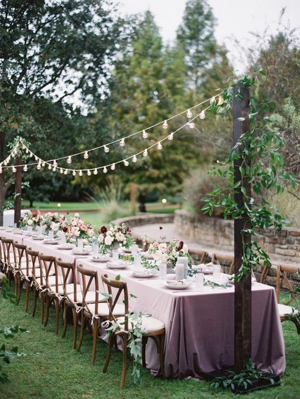 long table backyard wedding reception ideas