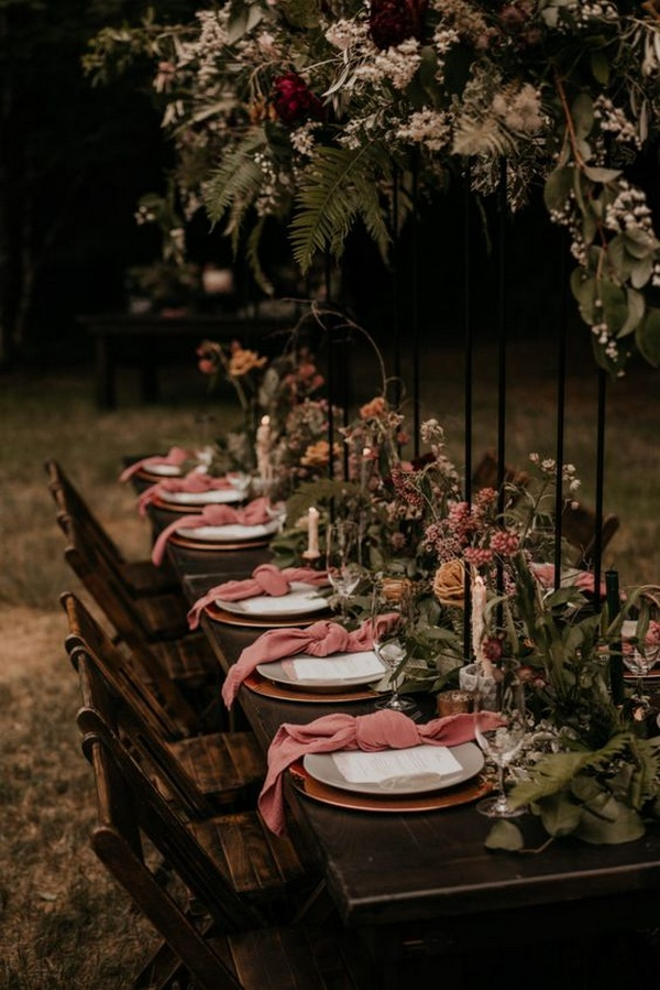 moody dusty rose intimate wedding reception ideas