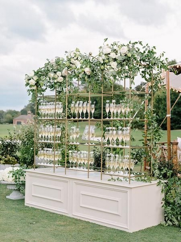 outdoor elegant wedding champagne bar decoration ideas