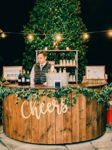 outdoor wooden wedding bar ideas