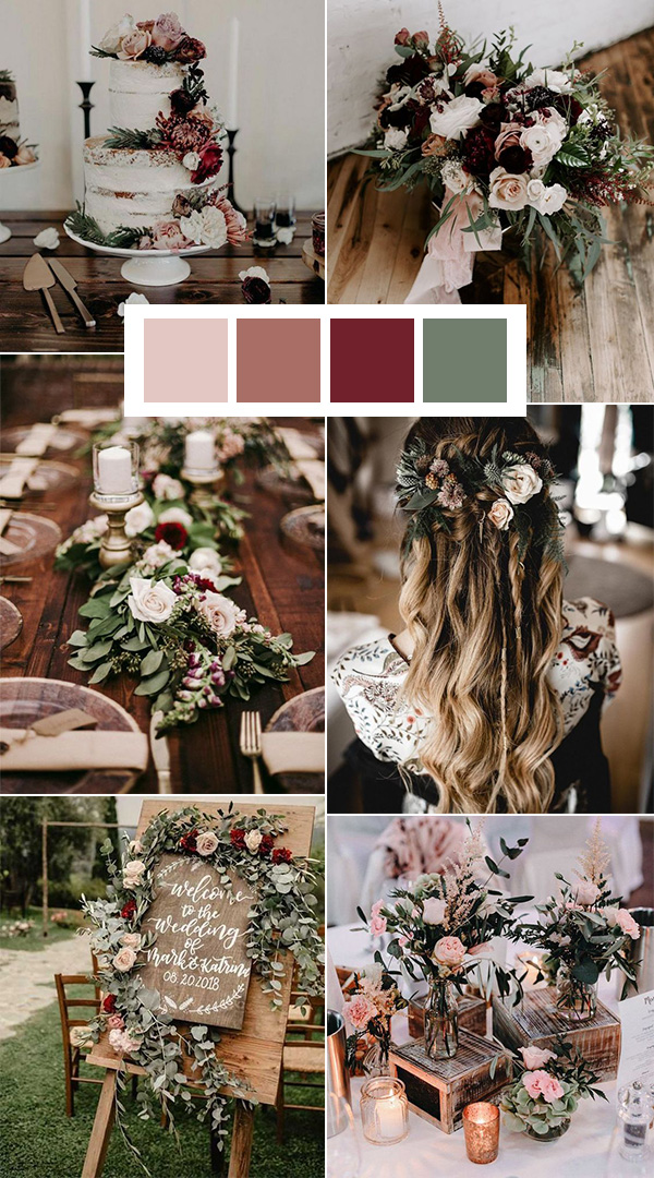 sage burgundy and blush wedding color ideas