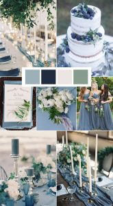 shades of blue and white winter wedding color ideas