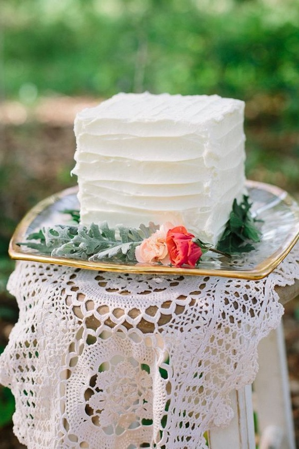 simple small square wedding cake ideas