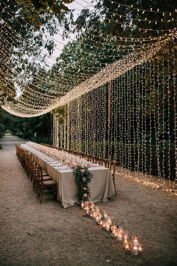 stunning wedding reception ideas with string lights