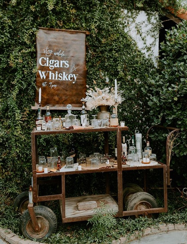 whisky bar for backyard wedding ideas