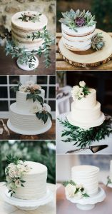 white and green small wedding cakes for 2020 trends