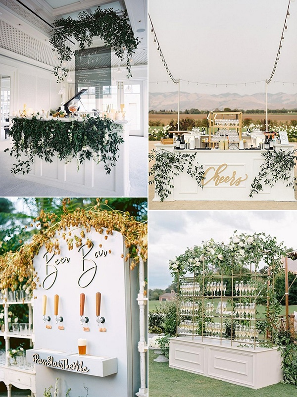 white and greenery wedding bar design ideas