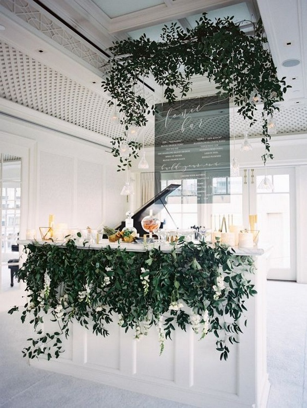 white and greenery wedding bar setting ideas
