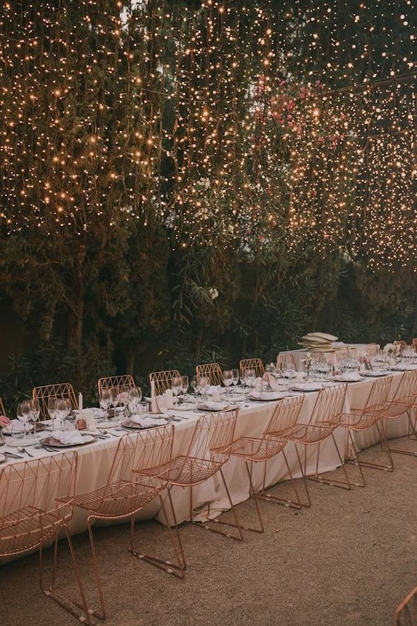 backyard wedding reception ideas with fairy lights