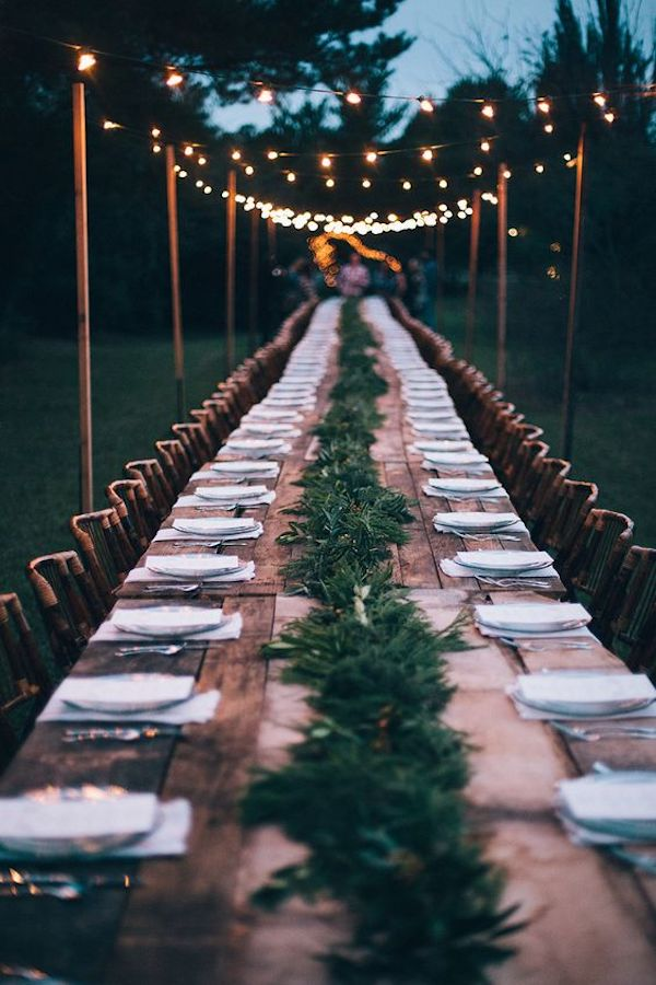 backyard wedding reception ideas with long table and string lights
