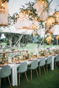 boho chic wedding reception ideas with lights