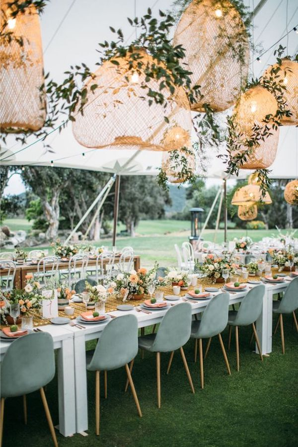 boho chic wedding reception ideas with lights