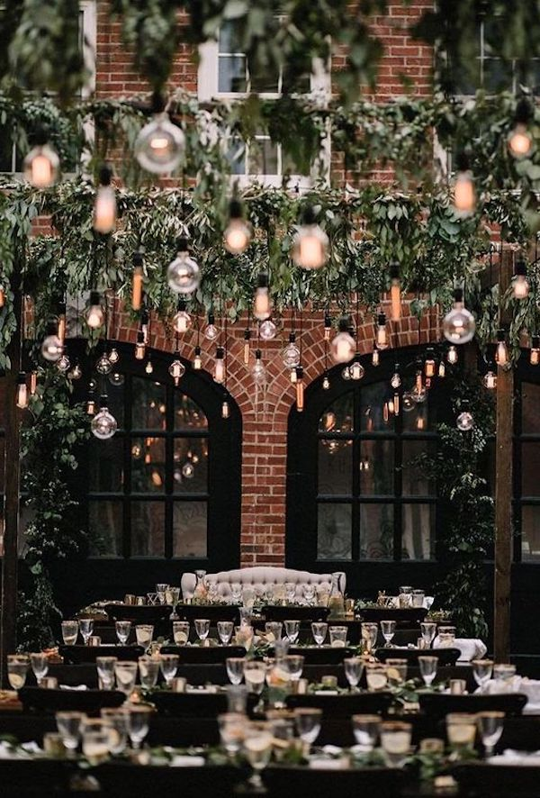 industrial wedding reception idea with lights