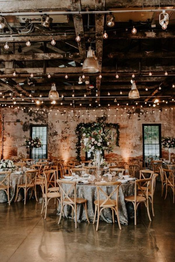 industrial wedding reception ideas with lights
