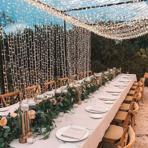 small wedding reception ideas with fairy string lights