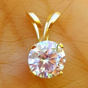 1.00Ct 1.50Ct Genuine Round Vs E D Lab Diamond Made Coated Created 14K Solid Yellow Gold Pendant Necklace Wedding Engagement Statement