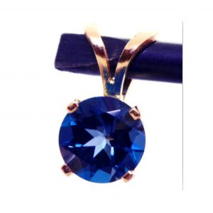 1.0Ct 1.50Ct Genuine Natural Vs London Blue Topaz Solid 14K Yellow Gold Pendant Necklace Wedding Anniversary Statement Cocktail Bridal Dress