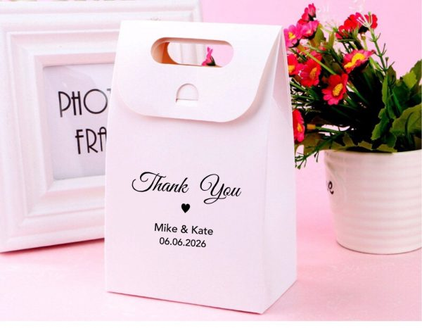 100x Kraft Or White Personalised Party Favor Bags Wedding Boxes Christmas Gift • Macaroon Cookie Candy Chocolate Any Texts