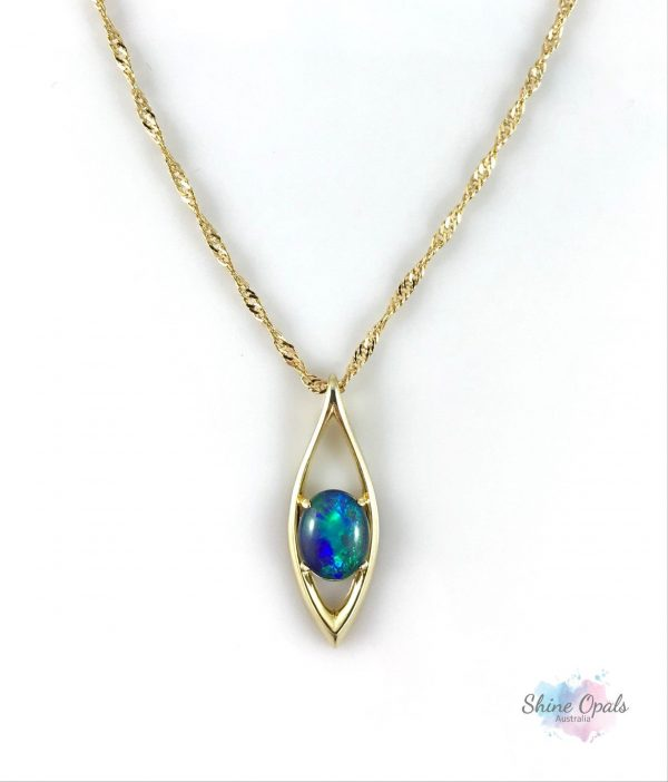 18Ct Gold Plated Opal Necklace Pendant, Genuine Australian 10x8mm Opal, 925 Sterling Silver, Chain, Jewelry, Gift, Wedding For Her