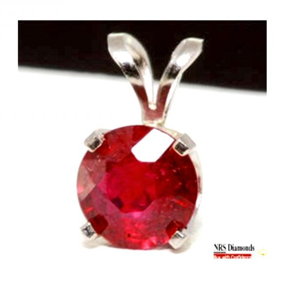 1Ct 1.5Ct Genuine Natural Red Ruby Solid 14K White Gold Pendant Necklace Birthstone Wedding Engagement Diamond Alternative Jewelry Cocktail