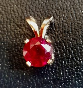 1Ct 1.5Ct Natural Red Ruby Solid 14K Yellow Gold Pendant Necklace Bridal Dress Wedding Engagement Diamond Alternative Jewelry Cocktail