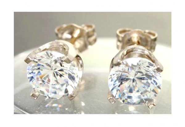 2.00Ct 3.00Ct Genuine Vs E D Lab Diamond Made Coated Created 14K Solid White Gold Stud Earrings Wedding Engagement Alternative Round