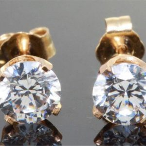 2.0Ct 3.0Ct Genuine Vs E D Lab Diamond Made Coated Created 14K Solid Yellow Gold Stud Earrings Wedding Engagement Alternative Round