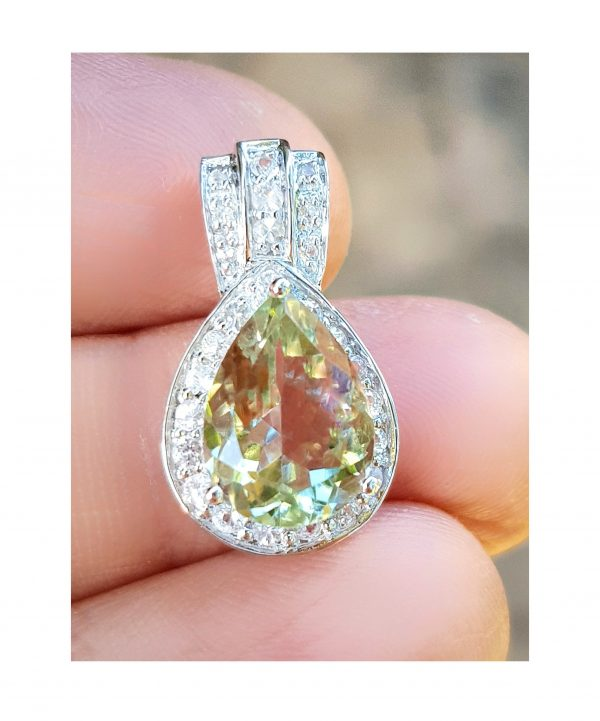 2.99Ct Genuine Natural Green Amethyst & White Sapphire Solid 9K Gold Pendant Necklace Statement Wedding Cocktail Engagement Jewelry