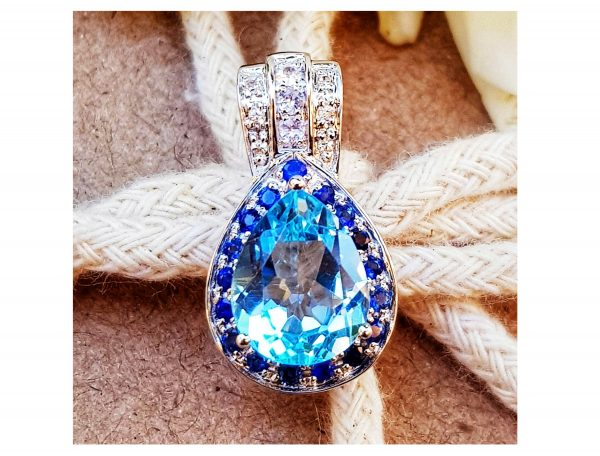 2.99Ct Natural Swiss Blue Topaz White Sapphire Solid 9K Gold Pendant Necklace Statement Halo Promise Wedding Engagement Cocktail