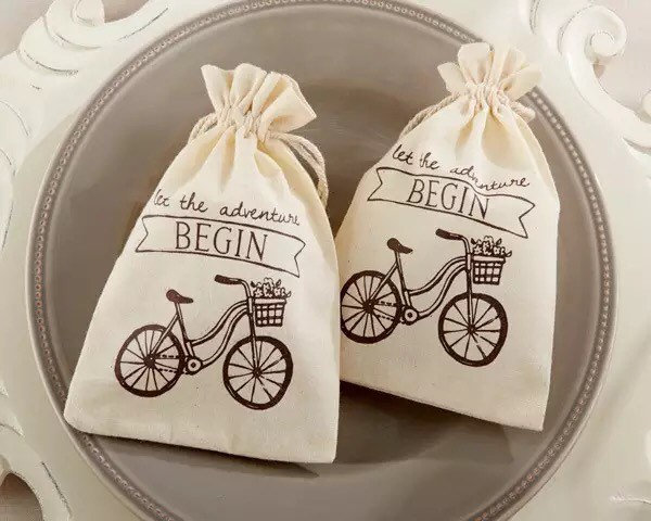 """50Pcs """"Let The Adventure Begin"""" Cotton Pouch Bags   Wedding Baby Shower 21st 5Th 10Th Birthday Party Favor Gift Bicycle Romantic Love"""