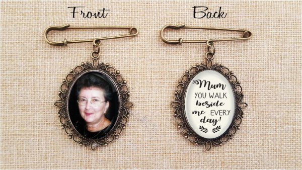 Antique Bronze Filigree Oval Double Sided Bouquet Photo Charm Bridal Brooch, Vintage Rustic Weddings, With Your Own Photo & Phrase, Brides